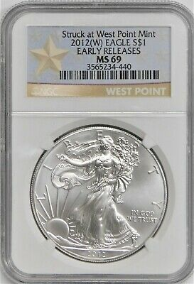 2012 (W)  Silver Eagle -  NGC MS69 - West Point- Early Release !!! No Reserve !!