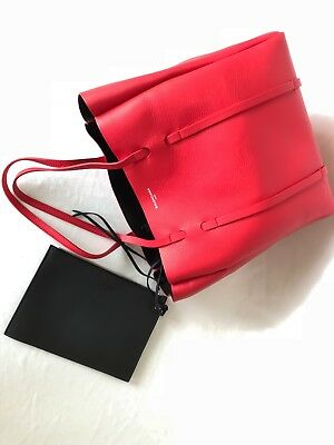 6ea4e22a8a  1250 BALENCIAGA AUTH NWT Everyday Small Red Leather Tote Bag Mirror Black  Pouch - EUR 402