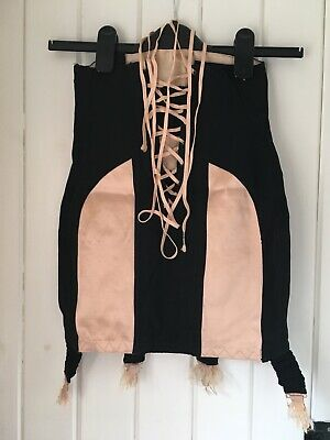 "XS 24"" Vintage 50's Burlesque Black Pink Corset Suspender Belt Lacing Panels"