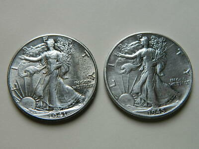 Lot of two Walking Liberty Half Dollars 1941 and 1945 (higher quality)