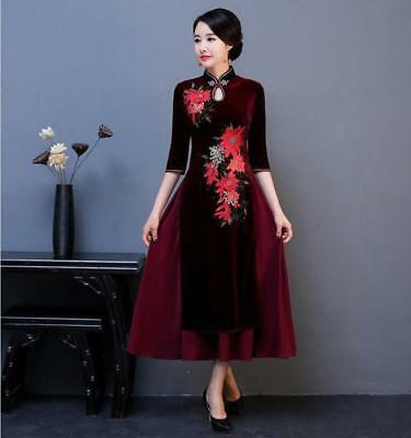 Women's Retro Chinese Embroider Cheong-sam Full Long Wedding Evening Dress F695