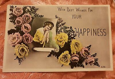 Best Wishes For Your Happiness Postcard - 1910