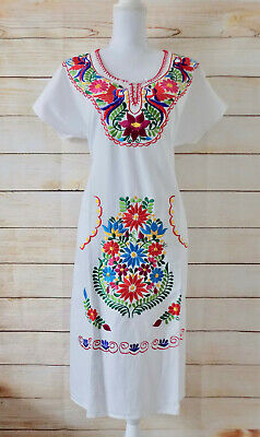 Handmade Womens Embroidered Mexican Dress Extra Large Fiesta Cinco de Mayo