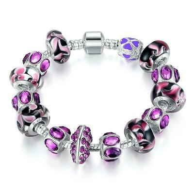Silver Plate Charm Bracelet With Purple Murano Glass Beads 20 to 40 Day Delivery
