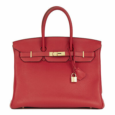 d4d88219a564 ROUGE TOMATE NEW Birkin 30Cm Tomato Red Hermes Bag Clemence Gold Ghw ...