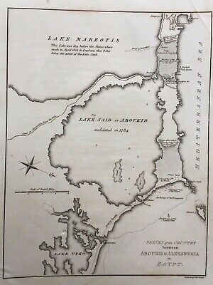 1813 Antique Map; Country between Abu Qir & Alexandria in Egypt