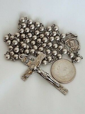 Vintage Antique ALL Solid Large Sterling Silver Rosary Beads Crucifix 30 Grams