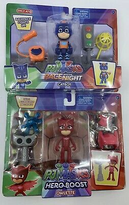 NEW PJ Masks Action Figure Lot - Race into the Night Catboy + Hero Boost Owlette