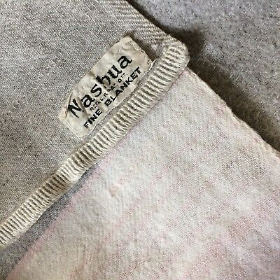 Antique blanket NASHUA wool flannel heather grey pink double long camp 142x62""
