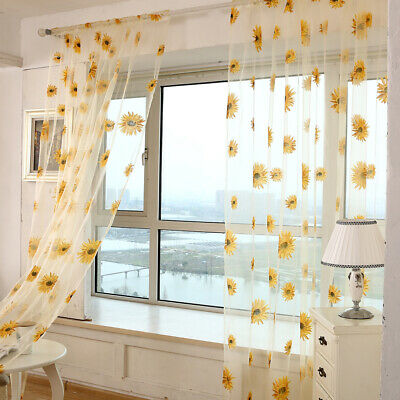 Window Flower Pattern Printed Sheer Voile Drape Floral Tulle Curtain Valance