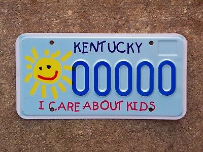 Kentucky I Care About Kids Sample License Plate Mint