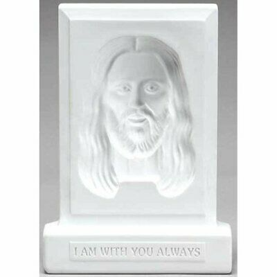 Face of Christ I AM with You Frosted White 5.5 x 7.5 Resin Stone  Plaque