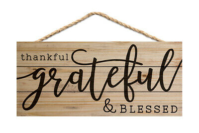 """10/"""" Blessed Wooden Sign Autumn Grateful P243 Handmade Wood Thankful"""