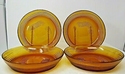Mid Century Modern SHALLOW Soup BOWLS 4 Duralex France Frosted Amber Glass