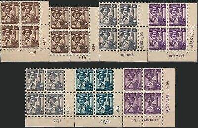 Egypt 1953 Definitives 4 values in corner BL4's w/ different print runs MNH VF