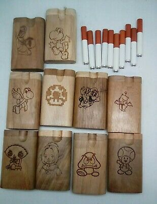 Lot of 10 assorted styles small twist top wood Dugout With one hitter bat pipe 7