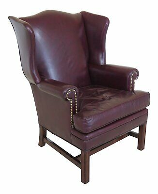 F46782EC: LEATHERCRAFT Burgundy Leather Wing Back Chair
