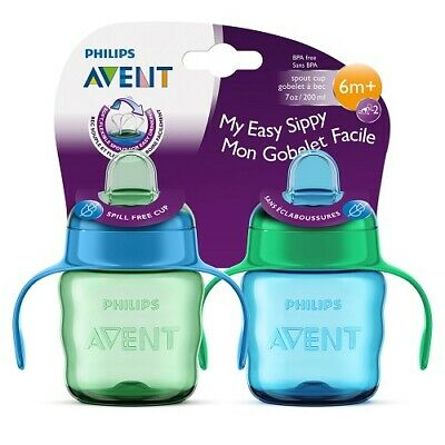 Philips Avent My Easy Sippy Cup Soft Flexible Spout, 6m+ 7 Oz, 2 Ct Blue/Green