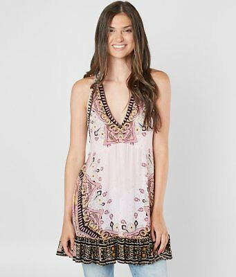 FINAL SALE NWT Free People Steal The Sun Tunic Tank Top Cream Pink Combo L 9f67e9658