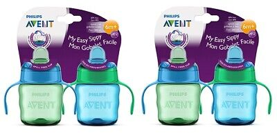 Philips Avent My Easy Sippy Cup, 6m+ 7 Oz, 2 Ct Blue/Green SCF551/22 (Pack of 2)