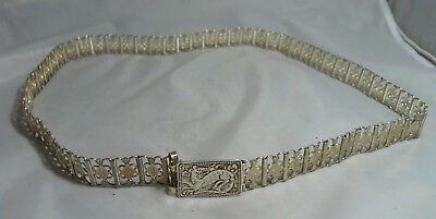 Antique 100% Silver Belt & Buckle 148g 34inches x 0.8inches A689117