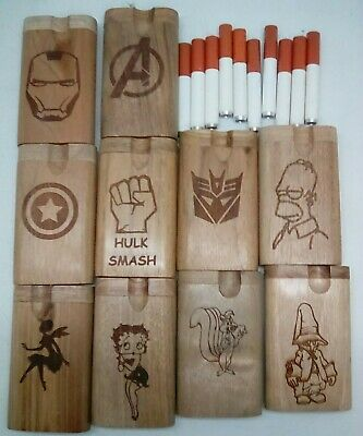Lot of 10 assorted styles small twist top wood Dugout With one hitter bat pipe 8