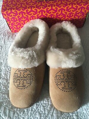44341dd4eef Tory Burch Coley Slippers Split Suede Perforated Royal Tan Size 9 New in Box