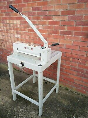 Heavy duty manual paper and card guillotine cutter with floor stand