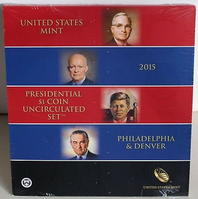 2015 Presidential $1 Coin Uncirculated Set 8 Golden BU Dollars US Mint SEALED