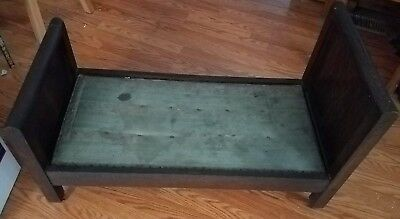 Antique Salesman Sample Wooden Bed Doll Toy Dog w Cushion Farm House Dog Bed
