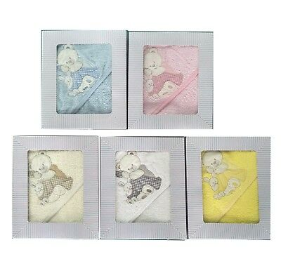 [50%OFF!]  Baby Hooded 100% Cotton Towel set  Boxed-Bear With Rabbit