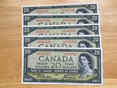 1954 $20 Beattie/coyne Canadian Bank Notes In Uncirculated Condition