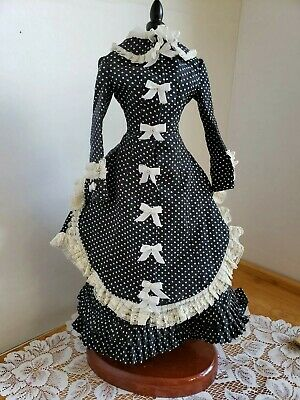 Antique repro doll gown dress bustle victorian black polka french german lady