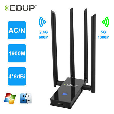 EDUP AC1900 Adapter Dongle w/A 1900Mbps Dual Band USB Wireless WiFi Network