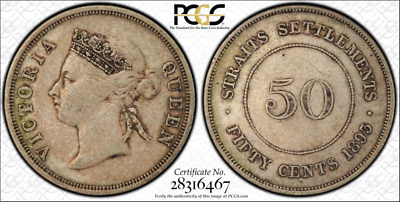 1893 Straits Settlement 50 cent PCGS graded VF 35 - Ultra rare key date!