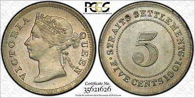 1901 Straits Settlement 5 cent PCGS graded AU 58