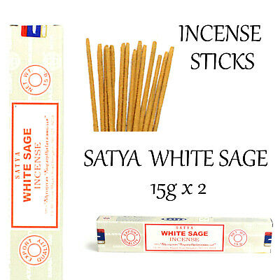 WHITE SAGE INCENSE STICKS~SATYA SAI BABA 15g x 2Pack Insence Wicca Smudge Pagan