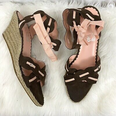 f2b8d2fc1275 Salvatore Ferragamo Brown Pink Ribbon Ankle Lace Up Espadrille Wedge Women s  9