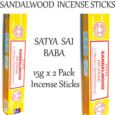 SANDALWOOD ~ SATYA SAI BABA INCENSE STICKS 15g x 2 PACK ~ Home Fragrance Insence