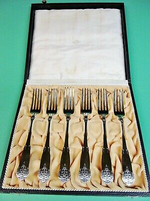 Six antique hammered  Norwegian solid silver forks 830 s NM  Hallmark. 1923.