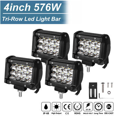 4x 4inch 576W CREE Tri-Row Led Light Bar Spot Pods Offroad ATV SUV Driving Lamps