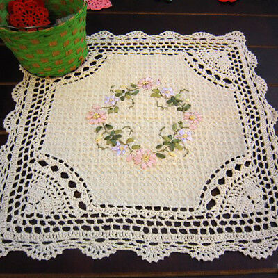 """Ecru Vintage Hand Crochet Lace Doily Square Table Topper 16"""" Pattern Embroidered"""