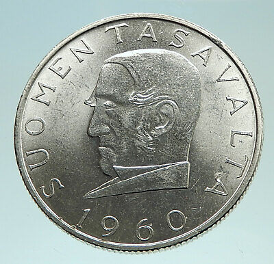 1960 FINLAND Currency Commemorative Genuine Silver 1000 Markkaa Coin i76015