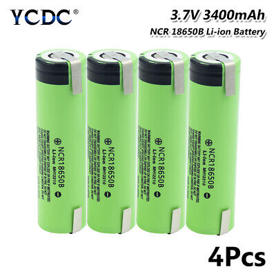 4Pcs 3400mAh NCR18650B Battery High Drain 20A Rechargeable With Tabs Flat Top E