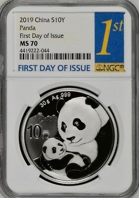 2019 NGC MS70 China S10Y Panda - First Day of Issue - Super Nice!