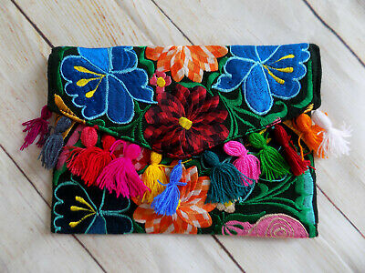 Womens Handmade Floral Embroidered Clutch Purse Bohemian Handbag Gift for Her