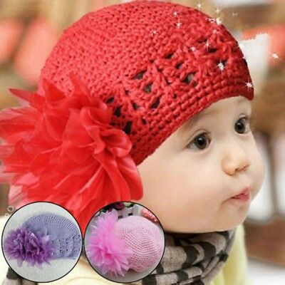 Lovely Baby Girl Knitted Caps Baby Hat Beanie With Double Chiffon Flowers