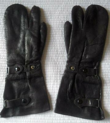Mens Vintage Pair Black Leather Trigger Mitt Gauntlet Gloves 9