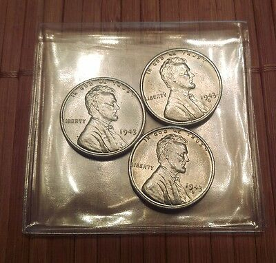 1943 P/D/S Lincoln Penny 3-Coin Steel Wheat Cent Set