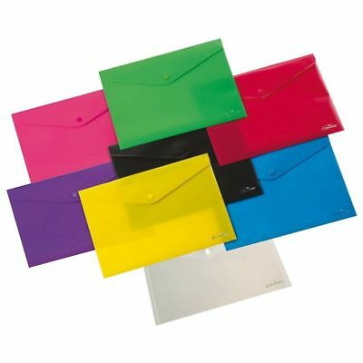 A4 bright Neon Document Wallet Folder Plastic Small Button Stud popper / Colours